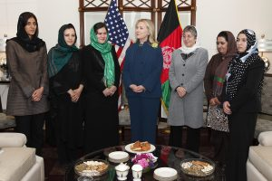 U.S. Secretary of State Hillary Rodham Clinton meets with female Afghan civil society leaders at the U.S. Embassy in Kabul, Afghanistan, on Thursday, October 20, 2011. (S.K. Vemmer/Department of State)