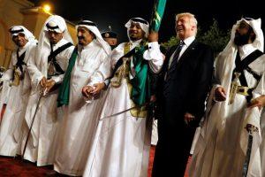 U.S. President Donald Trump dances with a sword as he arrives to a welcome ceremony by Saudi Arabia's King Salman bin Abdulaziz Al Saud at Al Murabba Palace in Riyadh, Saudi Arabia May 20, 2017. REUTERS/Jonathan Ernst